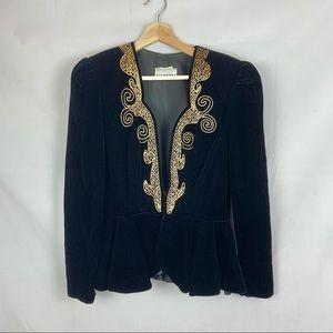 VINTAGE gold embroidered black velvet peplum blazer Sz Med